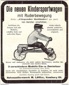 Original-Werbung/ Anzeige 1907 - KINDERSPORTWAGEN MIT RUDERBEWEGUNG /HOHENZOLLERNWERK LÖFFLER - HAMBURG -ca. 90 X 110 Mm - Werbung
