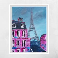 Eiffel Tower Painting on Canvas Original Abstract Pink/Blue | Etsy Large Canvas, Canvas Size, Eiffel Tower Painting, Sailboat Painting, Special Gifts, Pink Blue, Original Artwork, Color Schemes, Bee