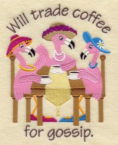 Gossiping Flamingos - Coffee design (A4698) from www.Emblibrary.com