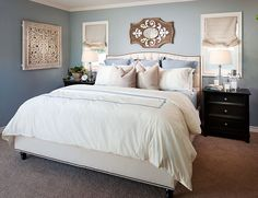 White bedroom with dark wood furniture decorating dark grey wood bedroom fu Blue Bedroom Paint, Bedroom Walls, Dark Wood Bedroom Furniture, White Bedroom, Bedroom Decor, Master Bedroom, Furniture Vintage, White Bedding, Bedroom Blinds