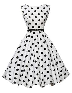 Cute Boatneck Sleeveless Vintage Tea Dress With Belt white black dot