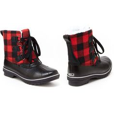 Women's JBU by Jambu Brenda Women's Duck Boots6/Red Plaid (£34) ❤ liked on Polyvore featuring shoes, boots, boots & booties, red plaid, jambu footwear, tartan plaid shoes, plaid boots, red rubber boots and red tartan shoes