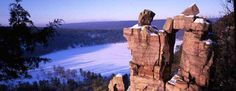 Rock climbing and camping in Devil's Lake State Park in Wisconsin