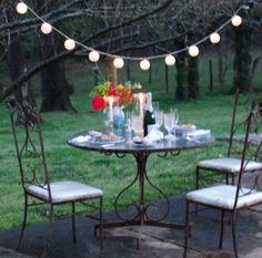 dining alfresco, i.e. eating outdoors.