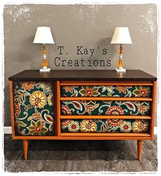 Chalk Finish Paint - Furniture & Cabinet Paint oz, Nailed It) Decoupage Furniture, Hand Painted Furniture, Funky Furniture, Refurbished Furniture, Cabinet Furniture, Repurposed Furniture, Furniture Projects, Furniture Makeover, Furniture Design