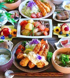Japanese Dinner, Japanese Food, Asian Recipes, Healthy Recipes, Breakfast Lunch Dinner, Dinner Sets, Food Menu, Food Presentation, Kids Meals