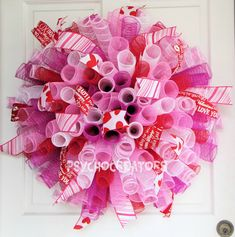 XL Valentines Day Wreath  Deluxe Curly Spiral by PsychoCreators