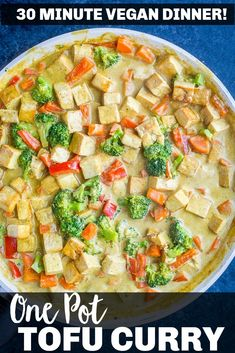 This Easy Coconut Curry with Tofu is a healthy and delicious 30 minute dinner recipe that's made entirely in one pan! It's so easy to make and perfect for a quick and easy weeknight dinner that's also vegan, gluten free and kid friendly! #coconutcurry #curry #dinner #30minutedinner Tofu Recipes, Curry Recipes, Vegan Recipes Easy, Asian Recipes, Whole Food Recipes, Vegetarian Recipes, Free Recipes, Tofu Curry, Coconut Curry
