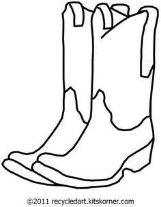 Printable cowboy boots Template  free printable coloring page