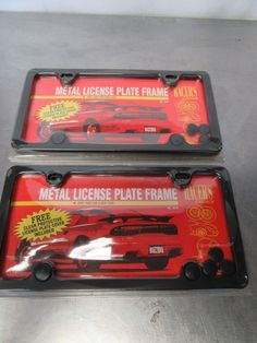Two Racers Choice Metal License Plate Frames, Protective Cover, New Old Stock License Plate Covers, License Plate Frames, Online Auto Parts Store, Lunch Box, Plates, Metal, Vintage, Licence Plates, Dishes