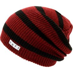If you shred on the daily you need the Neff Daily maroon and black stripe beanie to keep you warm. Instantly notice the warmth of the soft ribbed knit all-acrylic slight slouch fit, all-over maroon and black stripe pattern, and a white Neff logo tag embro