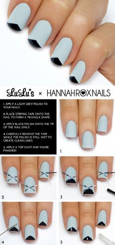 Grey and Black Triangle Tip French Mani Tutorial