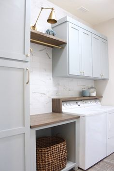 """Acquire fantastic recommendations on """"laundry room storage diy cabinets"""". They are actually on call for you on our web site. Grey Laundry Rooms, Mudroom Laundry Room, Laundry Room Layouts, Laundry Room Remodel, Laundry Room Cabinets, Laundry Room Organization, Laundry Room Design, Laundry In Bathroom, Diy Cabinets"""