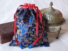Chinese brocade drawstring bag dark-blue by EcoTurtleUpcycling