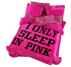 100 % Cotton Sexy Pink Leopard Flannel 4 Piece Bedding Sets