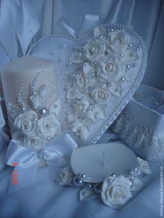 """Купить Свадебный комплект """"Диана"""" белый. - белый, свадебные аксессуары, свадебные свечи, свадебная подушечка"""