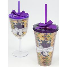 Let the Good Times Roll Mardi Gras Insulated Wine Glass and Tumber w Lid/Straw- Perfect to take to Mardi Gras!