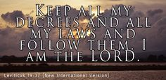 Obey all my laws and all my rules, and live by them. I am Lord - Leviticus Bible Quotes, Bible Verses, Scriptures, Sinners Prayer, Thy Word, Faith Bible, Old Testament, Praise God, Quote Of The Day
