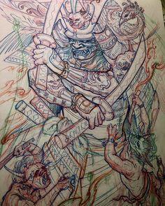 Samurai sketch for a tattoo by @tonyhu_chronicink