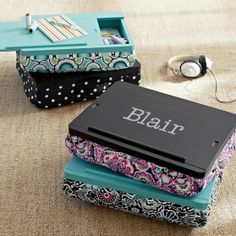 Superstorage Lap desk $89 | I want this so bad for the meetings and assemblies/conventions! I won't even need a mtg bag bc it stores everything and has a handle! I like the black top one with the purplish print bottom :) (the one that says blair)