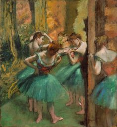 Dancers, Pink and Green (c.1890). Edgar Degas (French, 1834–1917). Oil on canvas. Met.  Degas punctuated this picture with the ominous shadow of a top-hatted patron of the Opéra, a select member of the Jockey Club who, with his friends, had special permission to linger in the wings during a performance. Degas constructed a scene in which two dancers on the stage are performing their pas de deux, as others, waiting in the wings, risk missing their cue while they dally with their patron.
