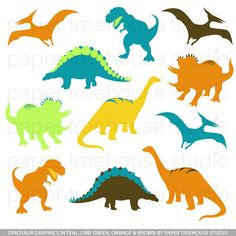 Dinosaurs in Teal Lime Green Yellow Orange by papertreehousestudio, $4.75