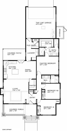 Craftsman Style House Plan - 3 Beds 2 Baths 1749 Sq/Ft Plan #434-17 Floor Plan - Main Floor Plan - Houseplans.com