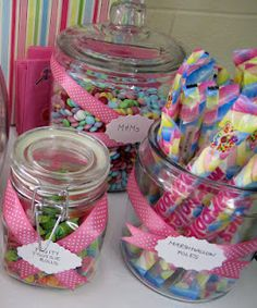 """Found on the blog linked to this picture.... a """"candy corral"""" buffet table for kids party"""