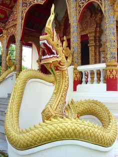 Naga serpent guardian at Wat Dok Eung, Chiang Mai, Thailand