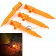 See your tent lines at night. Avoid late night stumbles and falls. Type: Tent Nail (4 nails per order) Color: Orange Material: Plastic Length: about 15 CM / 5.90 inches