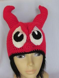 Crochet Devil hat with horns Earflap Hat Crochet by MagicalStrings, $38.00