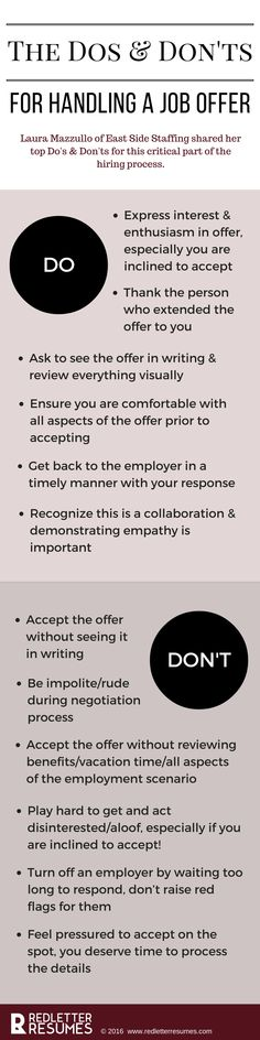 The Dos & Don'ts of the Job Offer. Make sure you have all the information you need to make a smart decision! @redletterresume