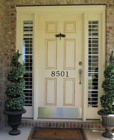 Plantation shutters on a front door exterior view Window