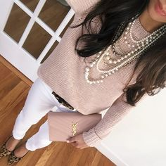 Easy spring outfit that could be tweaked to be casual or dressy - blush pink sweater, Ann taylor pearls, YSL clutch purse, white jeans, leopard heels.
