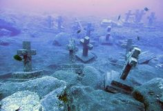 Underwater graveyard. Canary islands in Spain.  Spooky