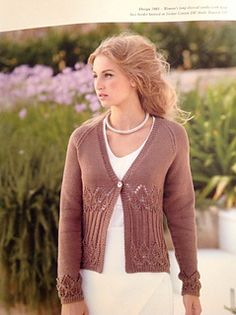 Woman's long sleeved cardie with deep lace border knitted in Sirdar Cotton DK.