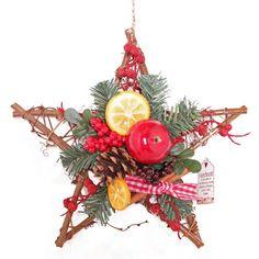 Artificial Festive Fruit Star Wreath - Winter Christmas Decoration