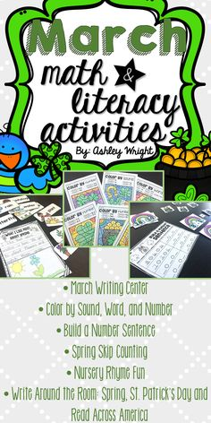 Everything you need for March Math and Literacy Centers all together in one spot! St. Patrick's day, Nursery Rhymes, Spring Skip Counting, Building number sentences, Sight word and number practice, and a writing center are some of the fun activities included. Easy prep, and great for independent work while at stations. Most come with worksheets that provide accountability.