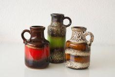 Set of Three WEST GERMAN VASES 3 Vintage Retro Ceramic Pottery Scheurich Fat Lava 1960s Mid-Century Modern Instant Collection