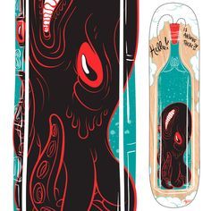 Is Anyone There? Skate deck design by J.R. Goldberg
