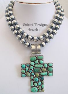 Rocki Gorman Many Stones LARGE turquoise Cross Pendant