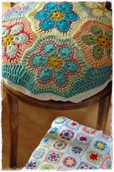 crochet pillow african flower