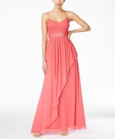 Adrianna Papell Spaghetti-Strap Lace Gown   macys.com
