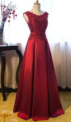 Red Floor Length Party Dress, Cute Red A-line Formal Dress, Prom Dress 2019 on Luulla Elegant Dresses, Beautiful Dresses, Formal Dresses, Long Gown Dress, Dress Prom, Lace Dress Styles, Gala Dresses, Satin Gown, African Fashion Dresses