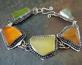 Chunky Seaglass and Silver Bracelet, Recycled Glass and Sterling in Oranges, Greens and Amber