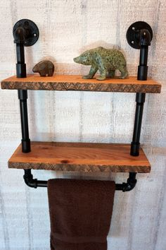 French Country Reclaimed Oak Shelves With Towel by Loftessentials, $129.00