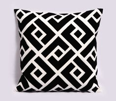 Black and white pillow cover - Linen, Felt - 18x18 inches, Decorative Pillows, Black throw pillow, Greek Key, Contemporary, Made to Order. $42.00, via Etsy.