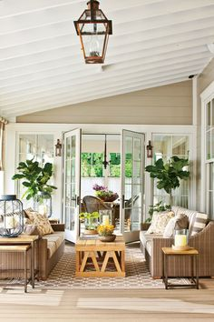 Southern Living Idea House at Fontanel - The Back Porch: In the back, a porch is nestled between the dining room and master bedroom. A neutral palette connects the porch to the home's exterior and its pastoral setting. Outdoor Rooms, Outdoor Living, Indoor Outdoor, Outdoor Fabric, Outdoor Patios, Outdoor Areas, Outdoor Kitchens, Four Seasons Room, Southern Farmhouse