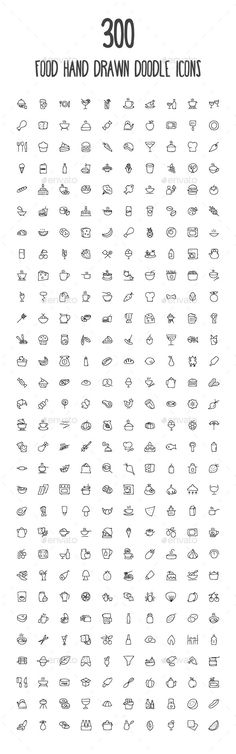 300 Food Hand Drawn Doodle Icons - Food Objects