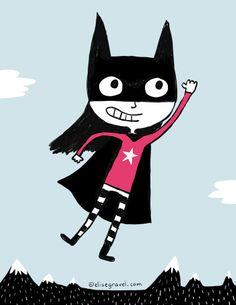 Elise Gravel illustration • Girl • Super girl • Power • flying • Superhero• drawing • character • cute • sky